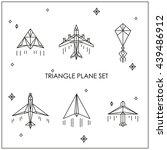 triangular white airplane. kite ... | Shutterstock .eps vector #439486912