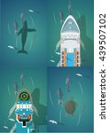 dolphins and ships. set of the...   Shutterstock .eps vector #439507102