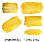 set of gouache golden stains on ... | Shutterstock . vector #439511752
