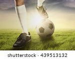 foot of soccer player using a... | Shutterstock . vector #439513132