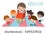cute kids listening to their... | Shutterstock .eps vector #439523926