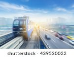 light rail moving on railway in ... | Shutterstock . vector #439530022
