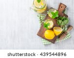 lemonade with lemon  mint and... | Shutterstock . vector #439544896