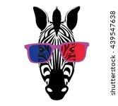 zebra with glasses vector... | Shutterstock .eps vector #439547638