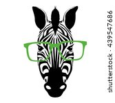 zebra with glasses vector... | Shutterstock .eps vector #439547686