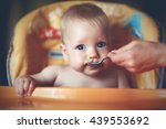 mother feeding her baby boy... | Shutterstock . vector #439553692