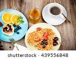 healthy breakfast on wooden... | Shutterstock . vector #439556848