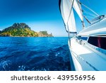 sailing vessel moving in the... | Shutterstock . vector #439556956