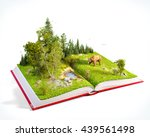 opened red book with wild... | Shutterstock . vector #439561498