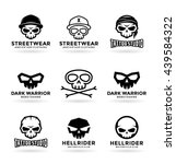 set of skulls and logo design... | Shutterstock .eps vector #439584322