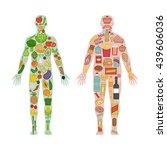 fresh vegetables and fruit in... | Shutterstock .eps vector #439606036