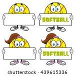 softball cartoon mascot...   Shutterstock .eps vector #439615336