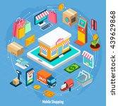 mobile shopping isometric... | Shutterstock .eps vector #439629868