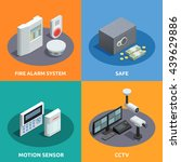 home security 4 isometric icons ... | Shutterstock .eps vector #439629886