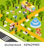 street food truck in water park ... | Shutterstock .eps vector #439629985