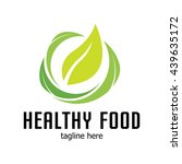 healthy food logo template | Shutterstock .eps vector #439635172