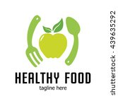 healthy food logo template | Shutterstock .eps vector #439635292