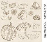 set of chalk sketch hand drawn  ... | Shutterstock .eps vector #439637572