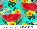 watermelons  tropical flowers ... | Shutterstock .eps vector #439653622