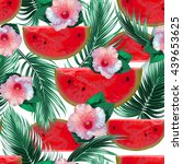 watermelons  tropical flowers ... | Shutterstock .eps vector #439653625