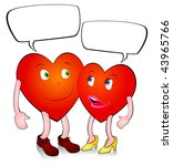 pair of loving hearts in comic... | Shutterstock .eps vector #43965766
