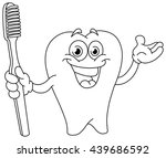 outlined cartoon tooth holding...   Shutterstock .eps vector #439686592