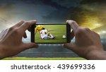 football fan removes the... | Shutterstock . vector #439699336