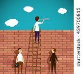 Man Standing On A Ladder. Brick ...