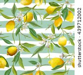 Stock vector seamless floral pattern lemon fruits background vector 439712002