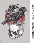 raven on skull with urban... | Shutterstock .eps vector #439712425