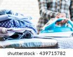 closeup of woman ironing... | Shutterstock . vector #439715782