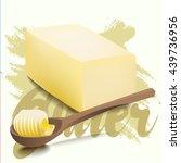 a piece of yellow milk butter...   Shutterstock .eps vector #439736956