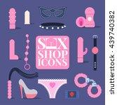 Stock vector sex shop vector icons symbols set design element sex toys bdsm supplements sex concept 439740382