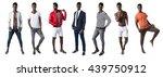 set of black men over grey...   Shutterstock . vector #439750912