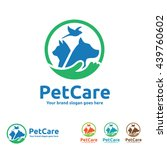 Stock vector pet care logo with dog cat and bird symbols 439760602