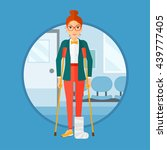 an injured woman with leg in... | Shutterstock .eps vector #439777405