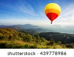 colorful hot air balloon over... | Shutterstock . vector #439778986