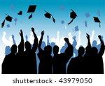 graduation in silhouette | Shutterstock .eps vector #43979050