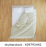 top view of an unmade bed with... | Shutterstock . vector #439791442