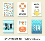 cute doodle sea theme party... | Shutterstock .eps vector #439798132