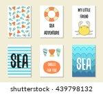 cute doodle sea theme party...   Shutterstock .eps vector #439798132