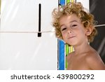 portrait of young boy surfer at ...   Shutterstock . vector #439800292