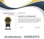 vector certificate template. | Shutterstock .eps vector #439801972