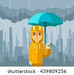 man with umbrella standing... | Shutterstock .eps vector #439809256