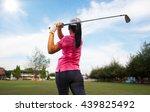 women player golf swing shot on ... | Shutterstock . vector #439825492