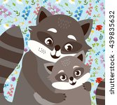 cute raccoon family. mother and ... | Shutterstock . vector #439835632
