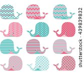 aqua and pink cute whale... | Shutterstock .eps vector #439839832