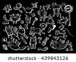 cat collection   doodle cartoon ... | Shutterstock .eps vector #439843126