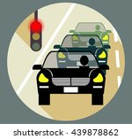 traffic jam and traffic lights | Shutterstock .eps vector #439878862