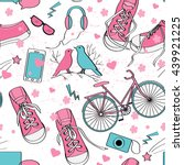 cute teenager girls pattern... | Shutterstock .eps vector #439921225
